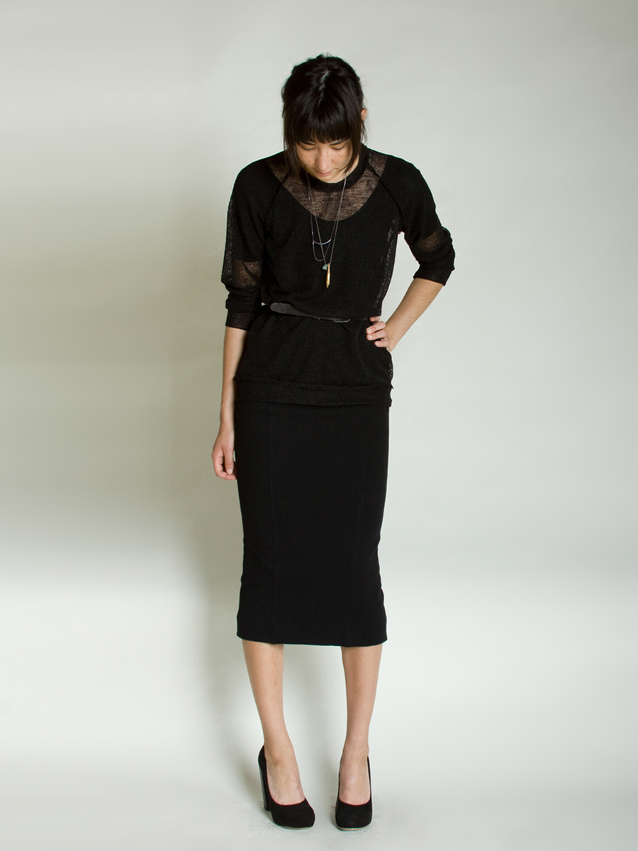 Long Black Pencil Skirt 91