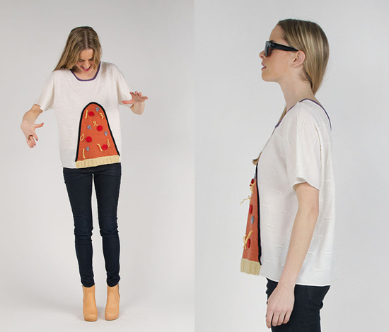 pizza sweater at swords-smith via honey kennedy