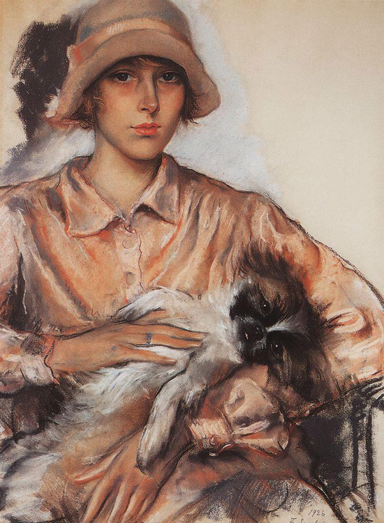 honey-kennedy-Zinaida-Serebriakova-portrait-of-a-lady-i-whelan-with-a-lapdog-1926