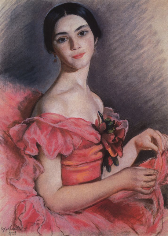 honey-kennedy-Zinaida-Serebriakova-portrait-of-yekaterina-heidenreich-in-red-1923