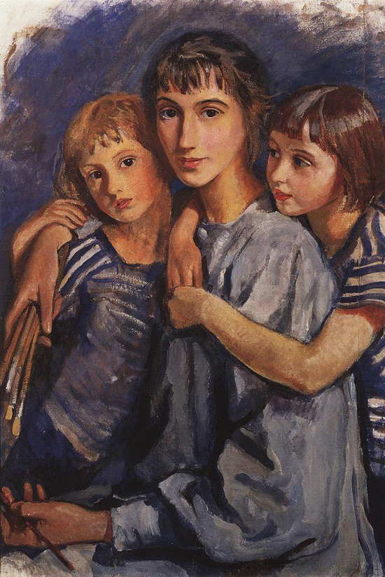honey-kennedy-Zinaida-Serebriakova-self-portrait-with-daughters