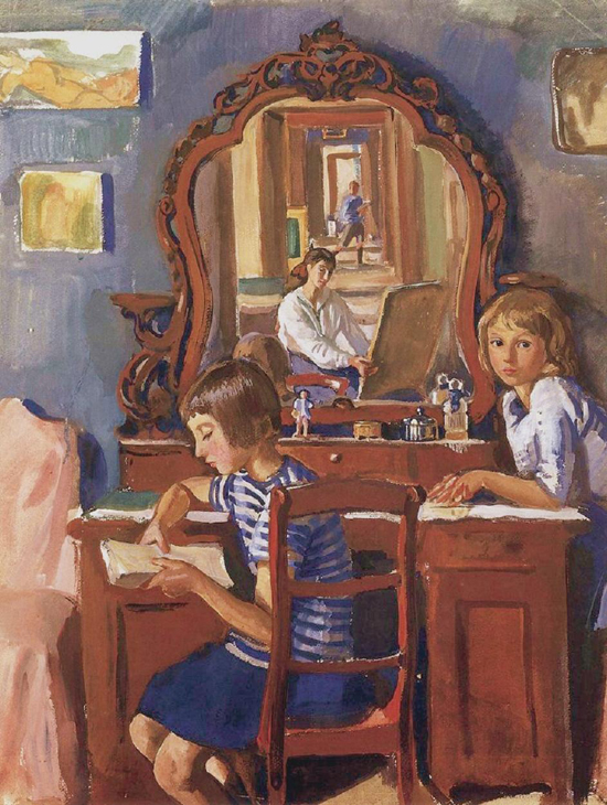 honey-kennedy-Zinaida-Serebriakova-tata-and-katia-in-the-mirror-1917-1