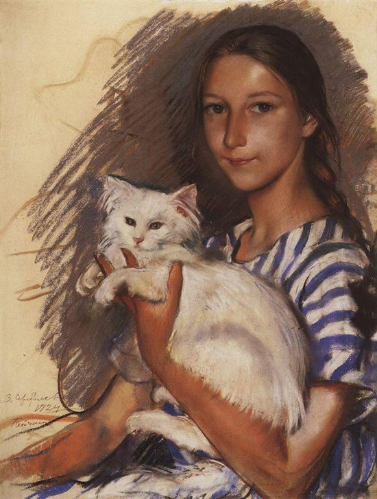 honey-kennedy-Zinaida-Serebriakova-with-cat